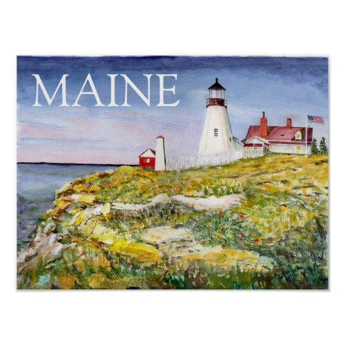 Portland Head Lighthouse Maine Watercolor Painting Poster