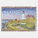 Portland Head Lighthouse Maine Watercolor Painting Throw Blanket