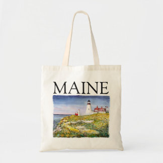 Portland Head Lighthouse Maine Watercolor Painting Tote Bag