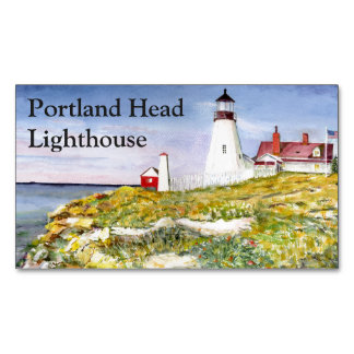 Portland Head Lighthouse Maine Watercolor Painting Magnetic Business Cards (Pack Of 25)