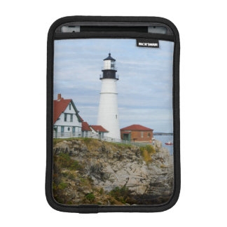 Portland Headlight lighthouse on rocky shore iPad Mini Sleeve