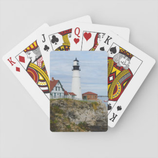 Portland Headlight lighthouse on rocky shore Playing Cards
