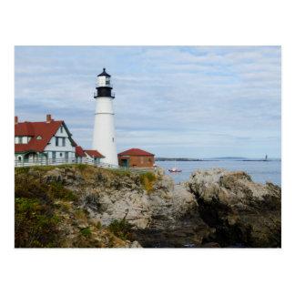 Portland Headlight lighthouse on rocky shore Postcard