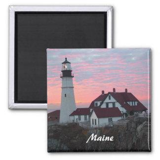 Portland Headlight Sunrise Maine Square Magnet