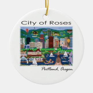 Portland~ la ciudad de rosas adorno navideño redondo de cerámica
