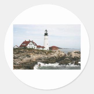 Portland lighthouse round stickers