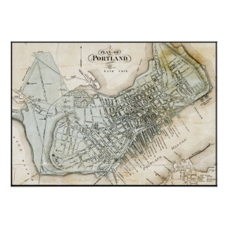 Portland, Maine 1857 Map Poster