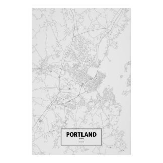 Portland, Maine (black on white) Posters