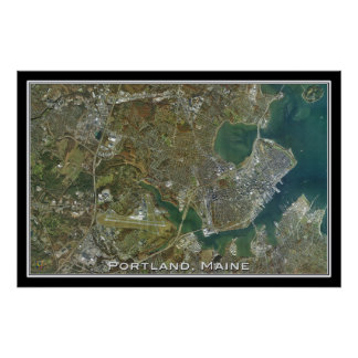 Portland Maine From Space Satellite Art Poster