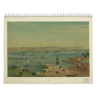 Portland Maine Harbor in 1854 by W. S. Hatton Calendar