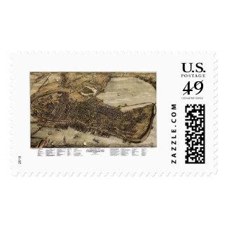 Portland, Maine Panoramic Map - 1876 Postage Stamp