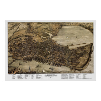 Portland, Maine Panoramic Map - 1876 Poster