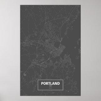 Portland, Maine (white on black) Poster