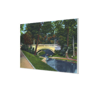 Portland, MaineDeering Oaks Arch Bridge View Stretched Canvas Print
