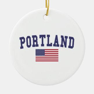 Portland O bandera de los E.E.U.U. Adorno Navideño Redondo De Cerámica