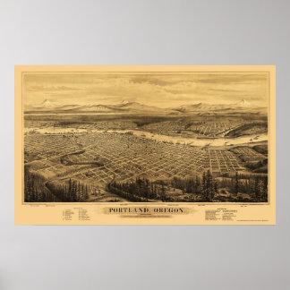 Portland, O mapa panorámico - 1879 Póster