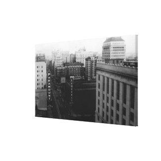 Portland, O vista de Broadway del St. principal Impresion En Lona