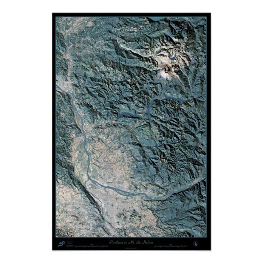 Portland, O y poster del satélite del Mt. St Helen
