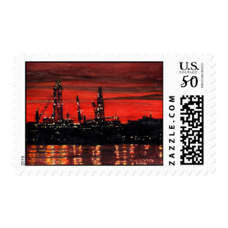 Portland Oil Rigs at Night Postage Stamp