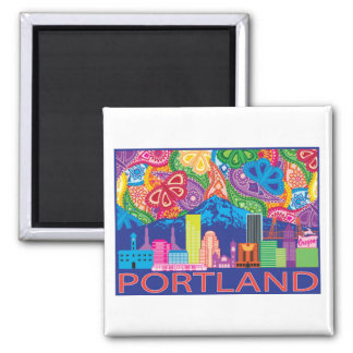 Portland OR and Mt. Hood colorful abstract drawing Magnet
