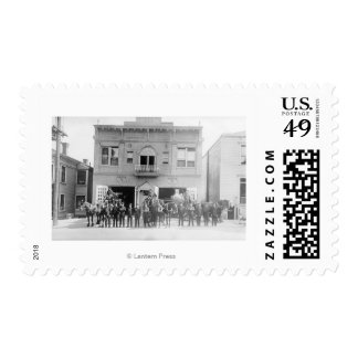 Portland, OR Fire Station Horse Drawn and Men Postage Stamp