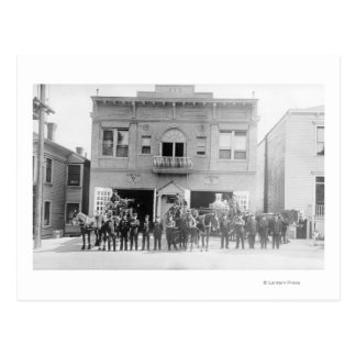 Portland, OR Fire Station Horse Drawn and Men Postcard