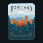 """Portland, OR Magnet<br><div class=""""desc"""">Anderson Design Group is an award-winning illustration and design firm in Nashville,  Tennessee. Founder Joel Anderson directs a team of talented artists to create original poster art that looks like classic vintage advertising prints from the 1920s to the 1960s.</div>"""