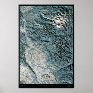 Portland, OR & Mt. St. Helens satellite poster