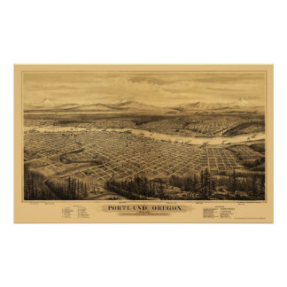 Portland, OR Panoramic Map - 1879 Poster