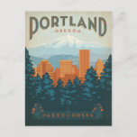 """Portland, OR Postcard<br><div class=""""desc"""">Anderson Design Group is an award-winning illustration and design firm in Nashville,  Tennessee. Founder Joel Anderson directs a team of talented artists to create original poster art that looks like classic vintage advertising prints from the 1920s to the 1960s.</div>"""
