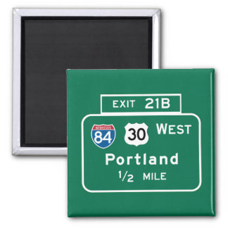 Portland, OR Road Sign 2 Inch Square Magnet