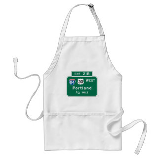Portland, OR Road Sign Adult Apron