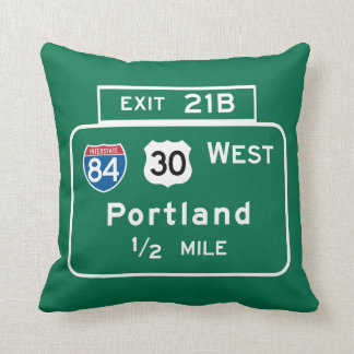 Portland, OR Road Sign Throw Pillow