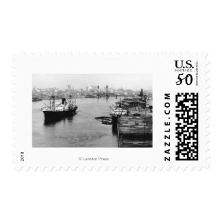 Portland, OR View Lumber Wharf and Ocean Liner Postage
