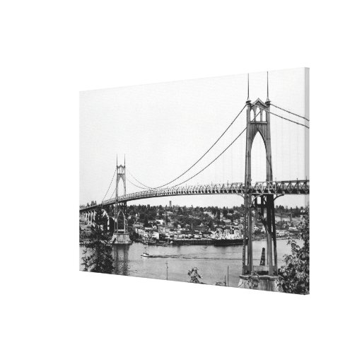 Portland, OR View of St. John Bridge over Canvas Print