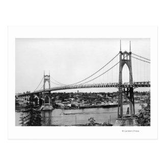 Portland, OR View of St. John Bridge over Postcard
