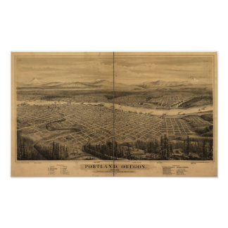 Portland Oregon 1879 Antique Panoramic Map Poster