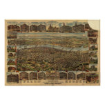 Portland Oregon 1890 Antique Panoramic Map Poster