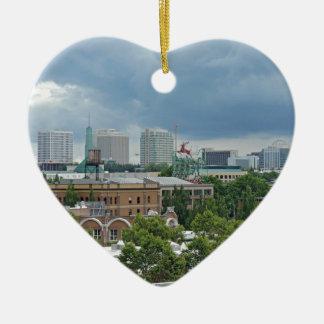 Portland Oregon Adorno Navideño De Cerámica En Forma De Corazón