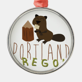 Portland Oregon Adorno Navideño Redondo De Metal