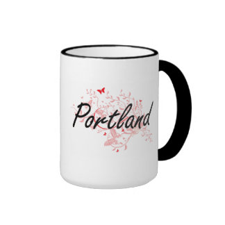Portland Oregon City Artistic design with butterfl Ringer Mug