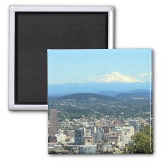 Portland, Oregon City View, Mount Hood background 2 Inch Square Magnet