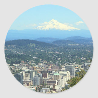 Portland, Oregon City View, Mount Hood background Classic Round Sticker