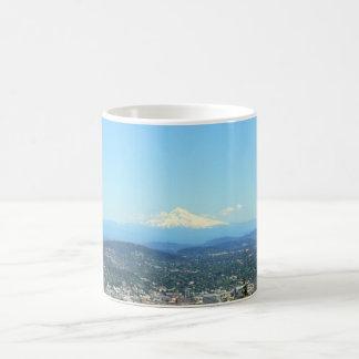 Portland, Oregon City View, Mount Hood background Coffee Mug