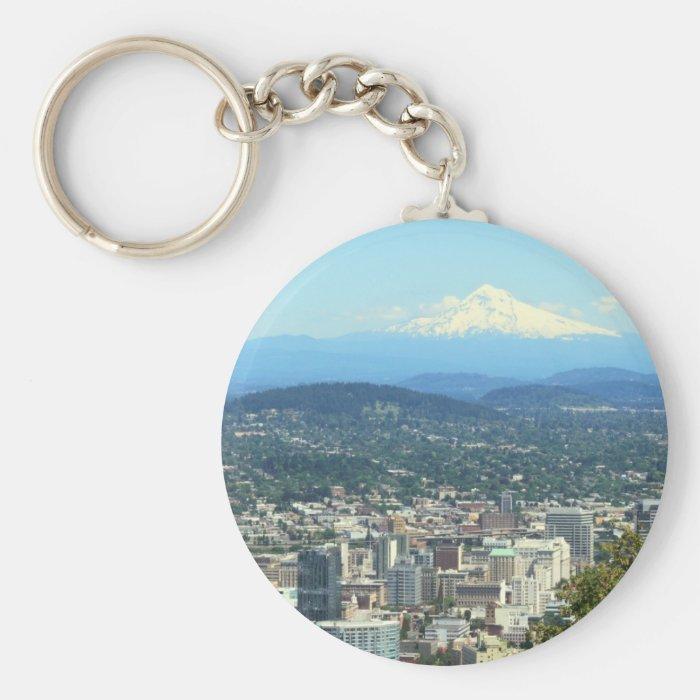 Portland, Oregon City View, Mount Hood background Keychain