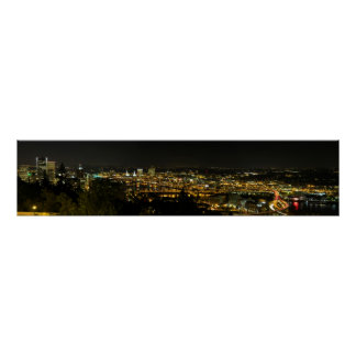 Portland Oregon Cityscape at Night Pano Poster