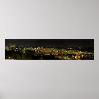 Portland Oregon Cityscape at Night Pano Poster