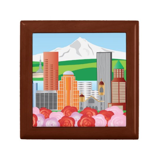 Portland Oregon Cityscape Gift Box