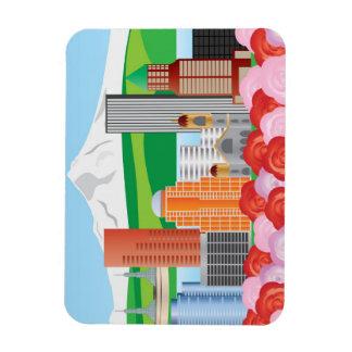 Portland Oregon Cityscape Illustration with Mount  Rectangular Photo Magnet