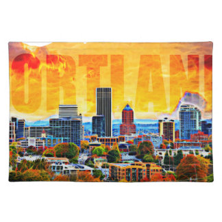 Portland Oregon Cityscape in Map Outline Cloth Placemat
